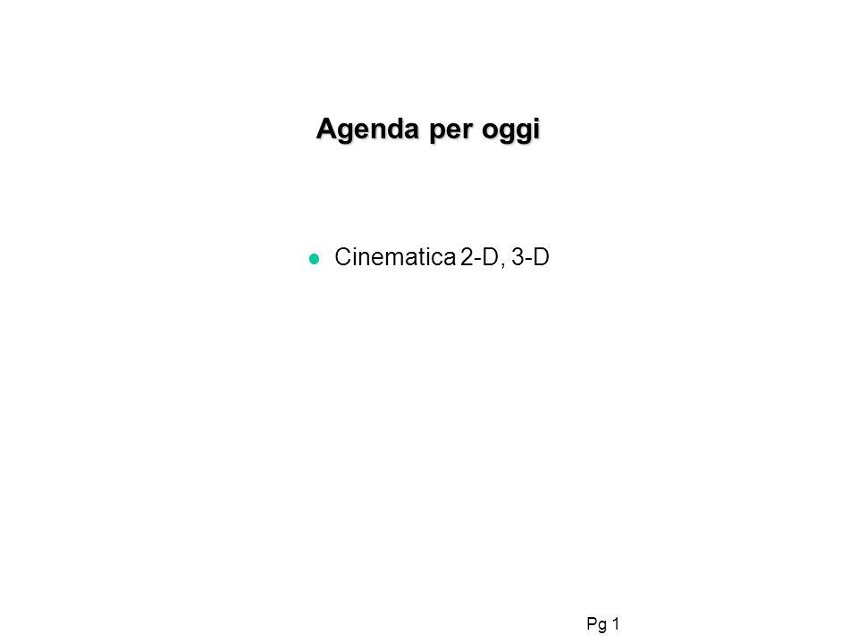 Agenda per oggi Cinematica 2-D, 3-D 1