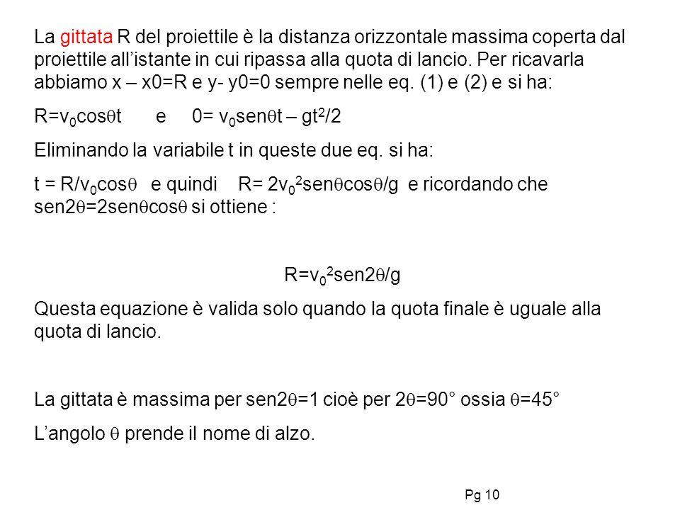 La gittata R del proiettile è la distanza orizzontale massima coperta dal proiettile all'istante in cui ripassa alla quota di lancio. Per ricavarla abbiamo x – x0=R e y- y0=0 sempre nelle eq. (1) e (2) e si ha: