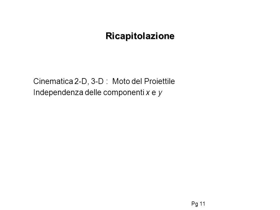 Ricapitolazione Cinematica 2-D, 3-D : Moto del Proiettile