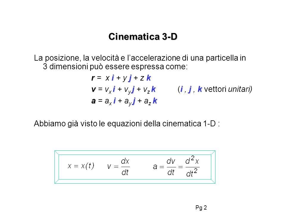 Cinematica 3-D La posizione, la velocità e l'accelerazione di una particella in 3 dimensioni può essere espressa come: