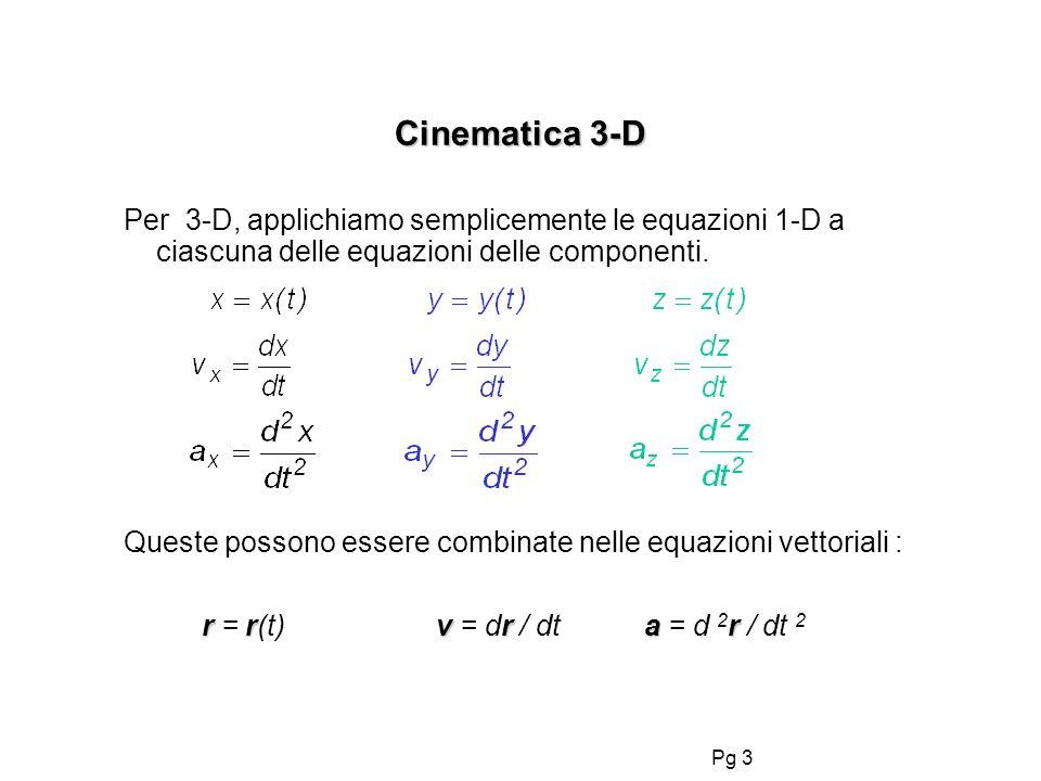Cinematica 3-D Per 3-D, applichiamo semplicemente le equazioni 1-D a ciascuna delle equazioni delle componenti.