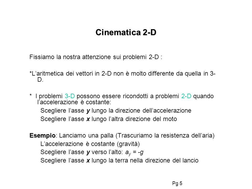 Cinematica 2-D Fissiamo la nostra attenzione sui problemi 2-D :