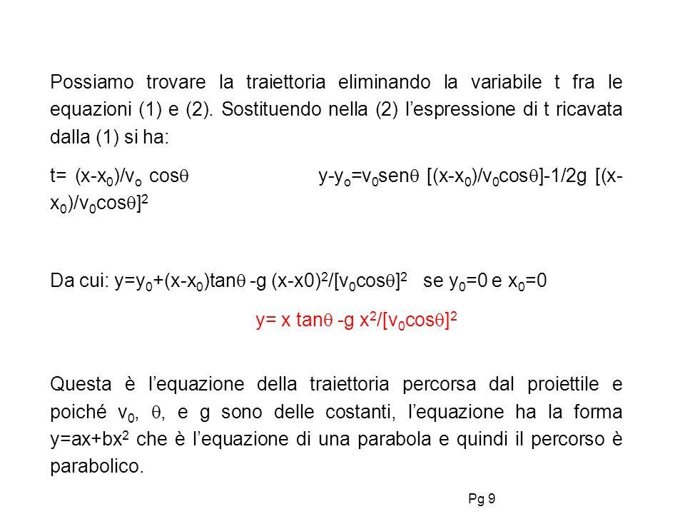 Possiamo trovare la traiettoria eliminando la variabile t fra le equazioni (1) e (2). Sostituendo nella (2) l'espressione di t ricavata dalla (1) si ha: