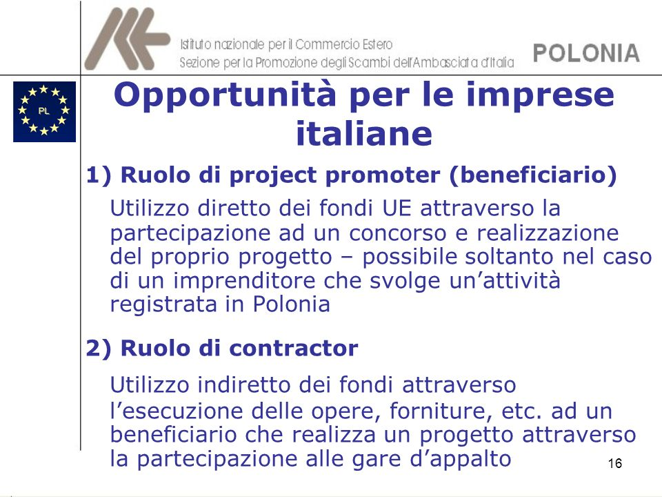 Opportunità per le imprese italiane