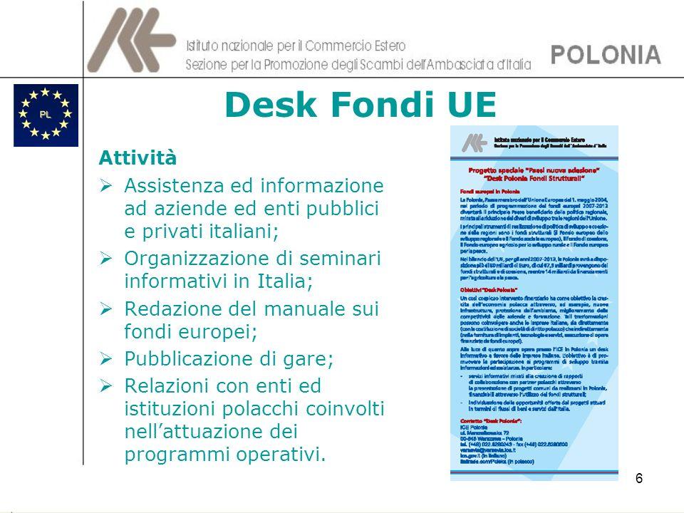 Desk Fondi UEAttività. Assistenza ed informazione ad aziende ed enti pubblici e privati italiani; Organizzazione di seminari informativi in Italia;