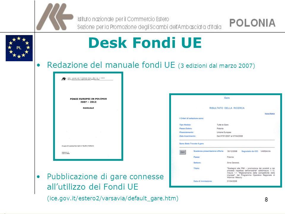 Desk Fondi UERedazione del manuale fondi UE (3 edizioni dal marzo 2007) Pubblicazione di gare connesse.