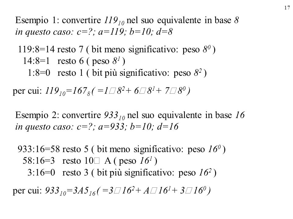 Esempio 1: convertire 11910 nel suo equivalente in base 8