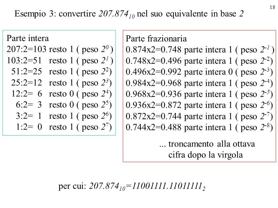 Esempio 3: convertire 207.87410 nel suo equivalente in base 2