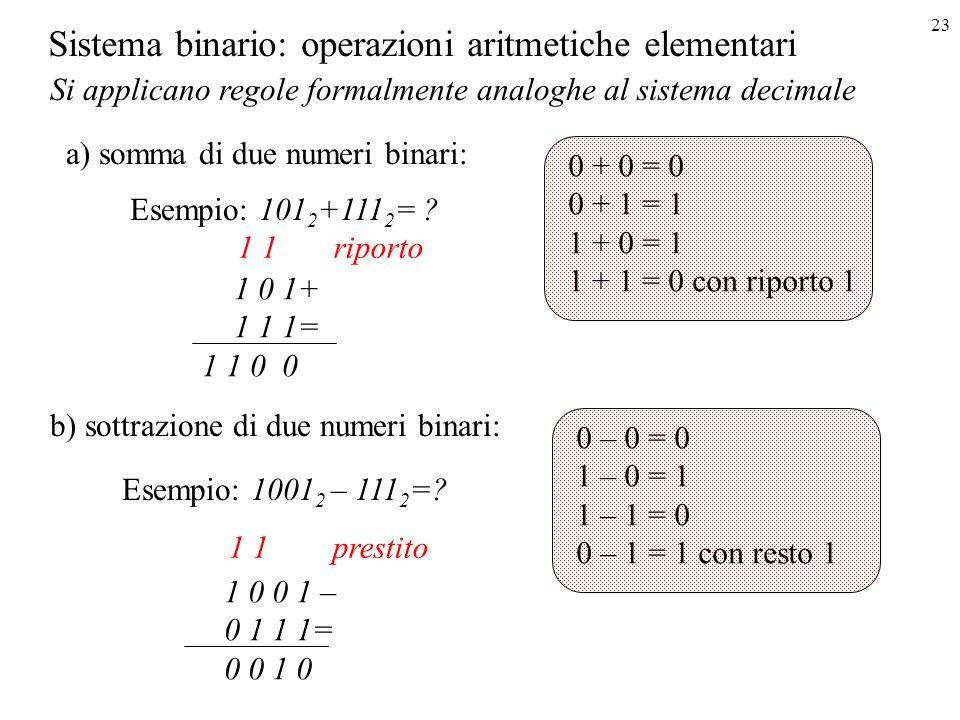 Sistema binario: operazioni aritmetiche elementari