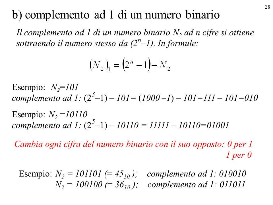 b) complemento ad 1 di un numero binario