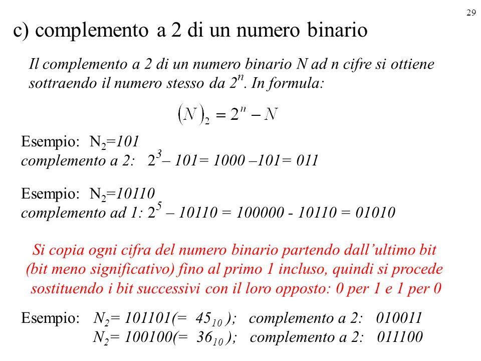 c) complemento a 2 di un numero binario