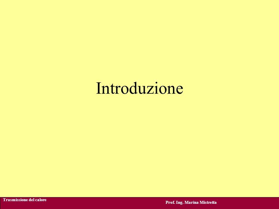 Introduzione Trasmissione del calore Prof. Ing. Marina Mistretta