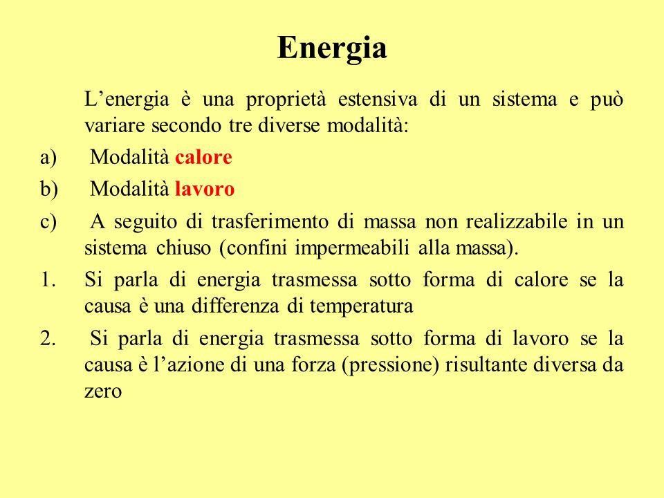 Energia L'energia è una proprietà estensiva di un sistema e può variare secondo tre diverse modalità: