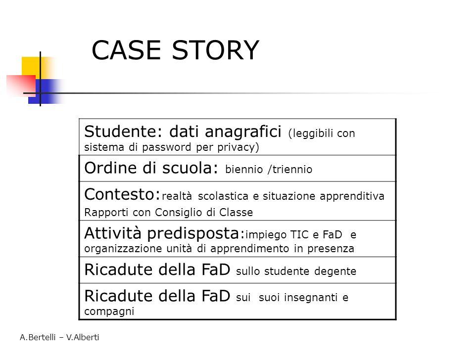 CASE STORY Studente: dati anagrafici (leggibili con sistema di password per privacy) Ordine di scuola: biennio /triennio.