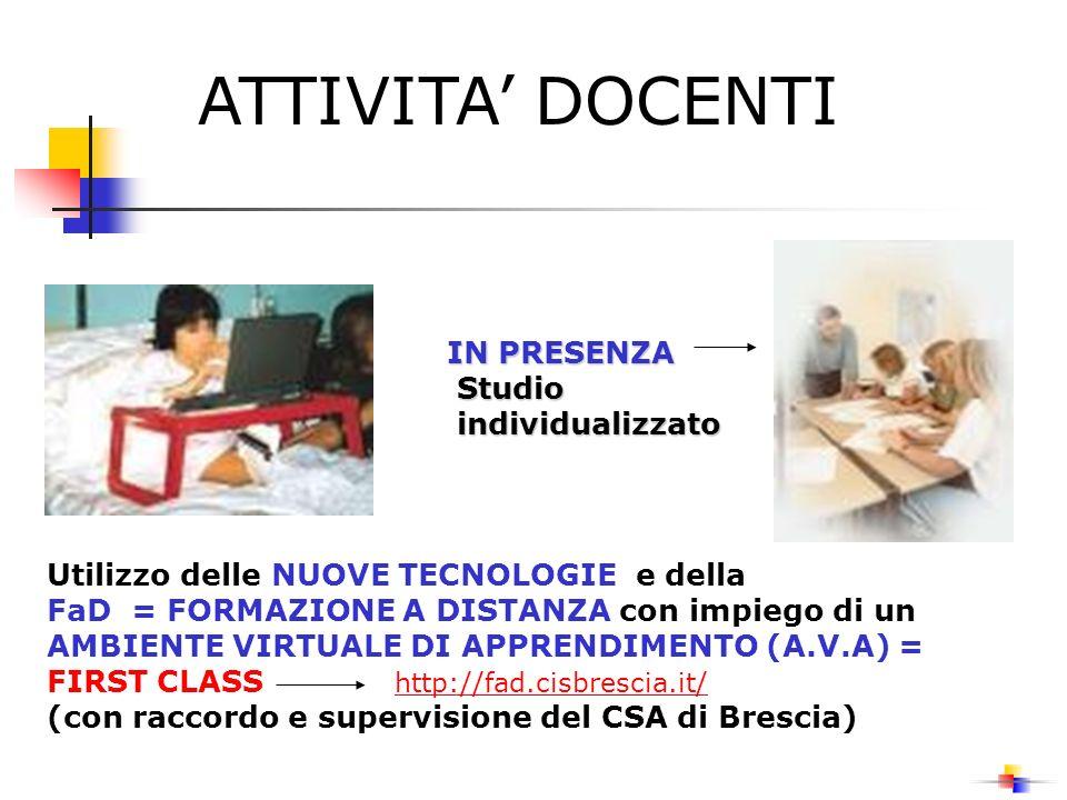 ATTIVITA' DOCENTI IN PRESENZA Studio individualizzato