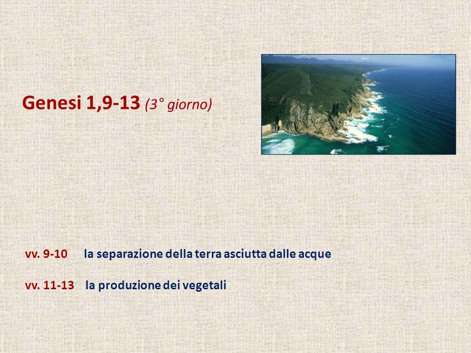 Genesi 1,9-13 (3° giorno) vv. 9-10 la separazione della terra asciutta dalle acque.