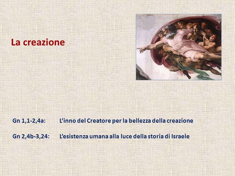 La creazione Gn 1,1-2,4a: L'inno del Creatore per la bellezza della creazione.