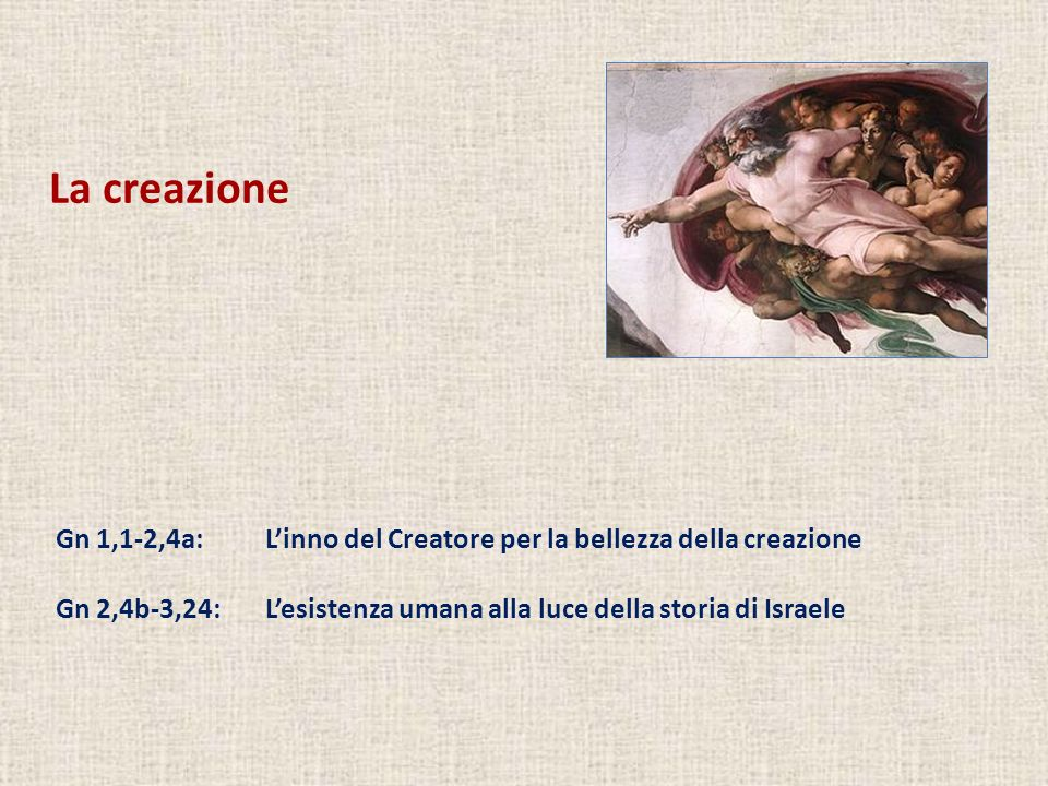 La creazioneGn 1,1-2,4a: L'inno del Creatore per la bellezza della creazione.