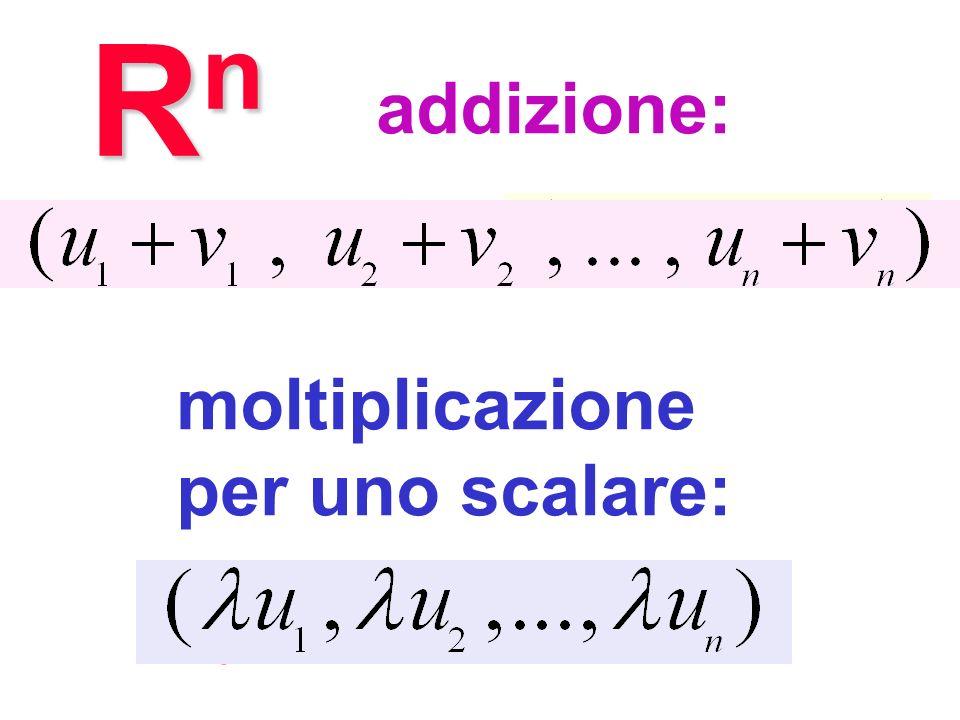 Operazioni in Rn Rn addizione: + moltiplicazione per uno scalare: l