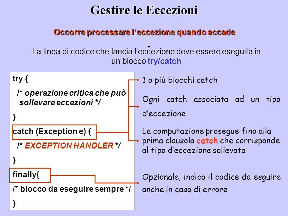 Gestire le Eccezioni Occorre processare l'eccezione quando accade