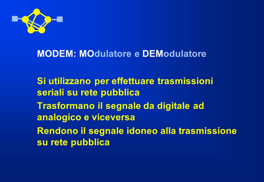 MODEM: MOdulatore e DEModulatore