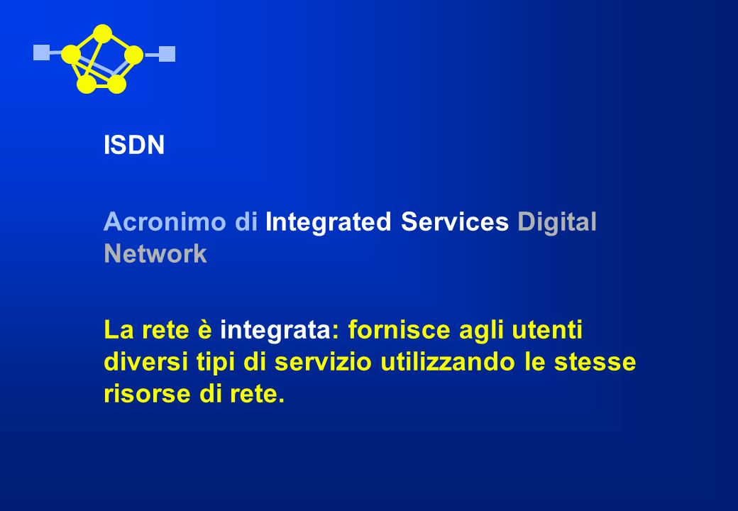 ISDN Acronimo di Integrated Services Digital Network.