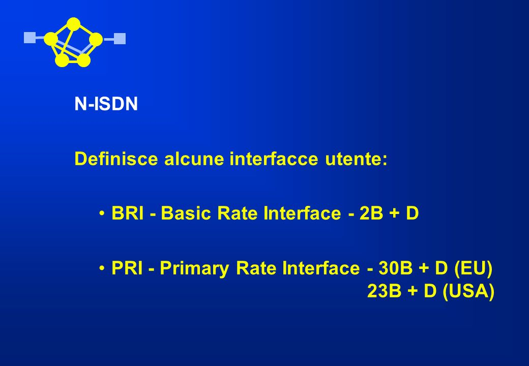 N-ISDN Definisce alcune interfacce utente: BRI - Basic Rate Interface - 2B + D.
