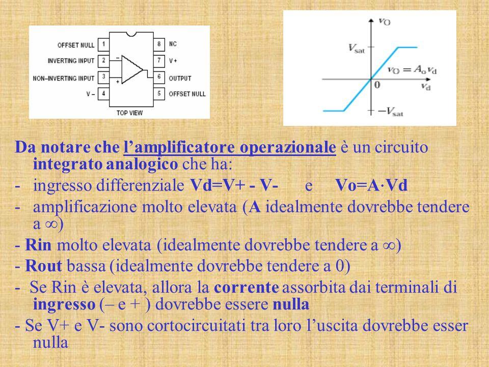 Da notare che l'amplificatore operazionale è un circuito integrato analogico che ha: