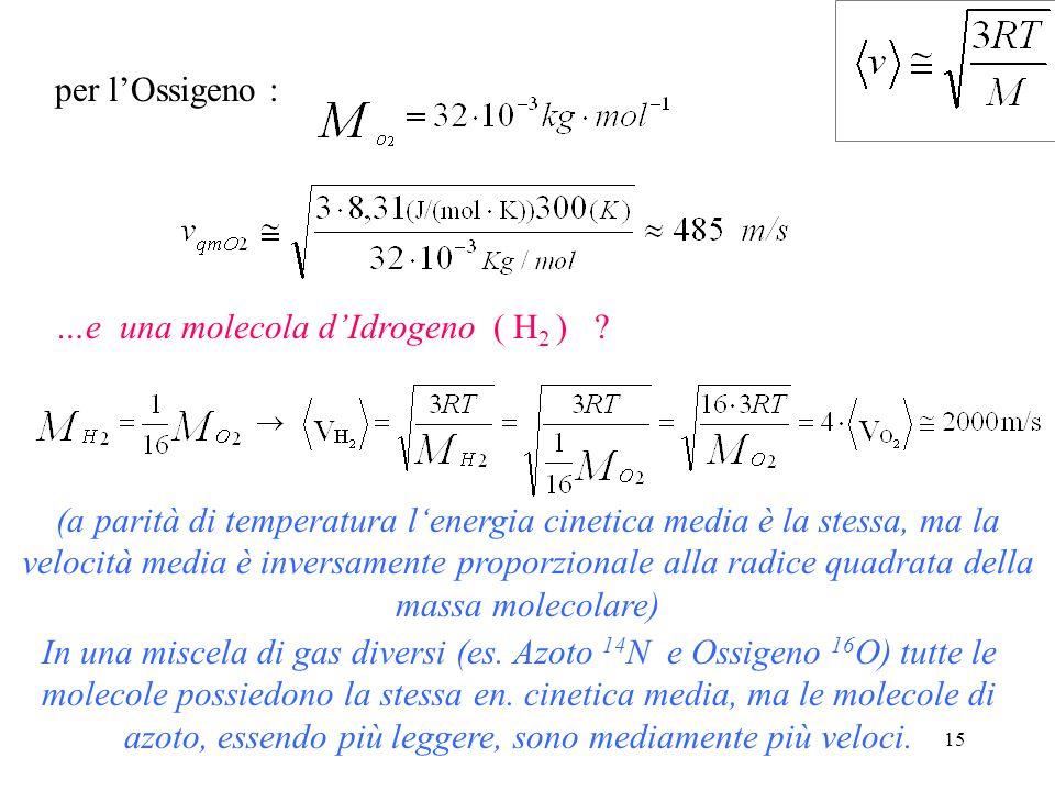 per l'Ossigeno : …e una molecola d'Idrogeno ( H2 )