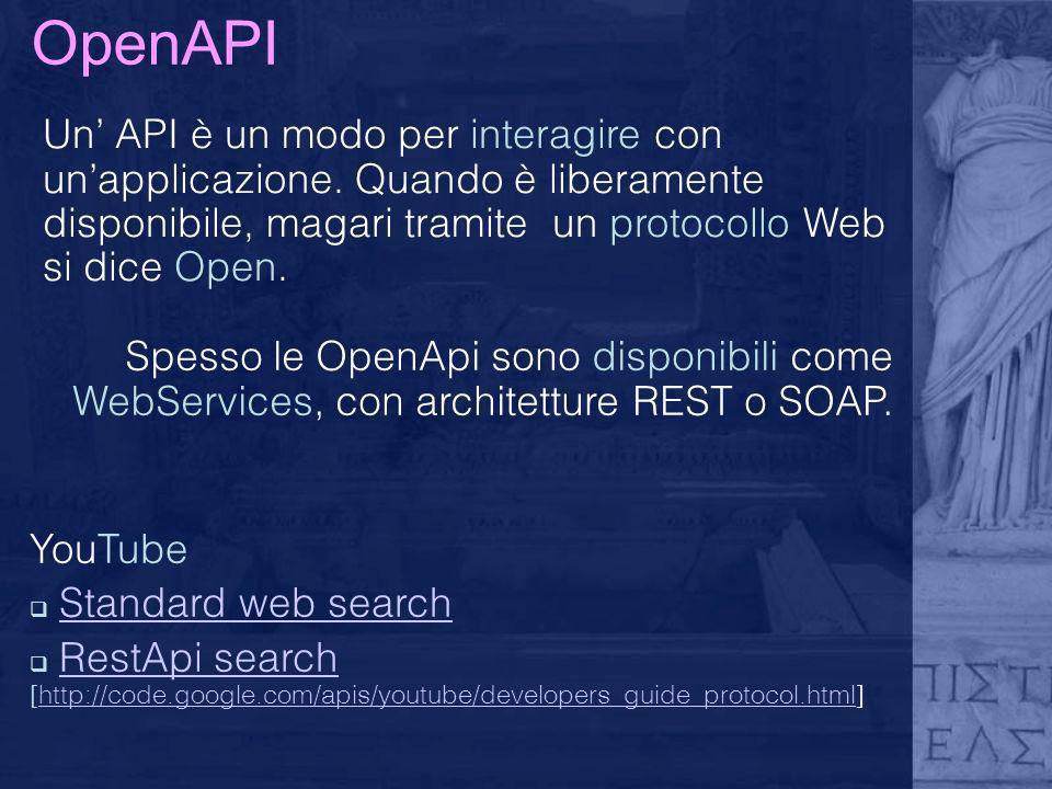 OpenAPI Un' API è un modo per interagire con un'applicazione. Quando è liberamente disponibile, magari tramite un protocollo Web si dice Open.