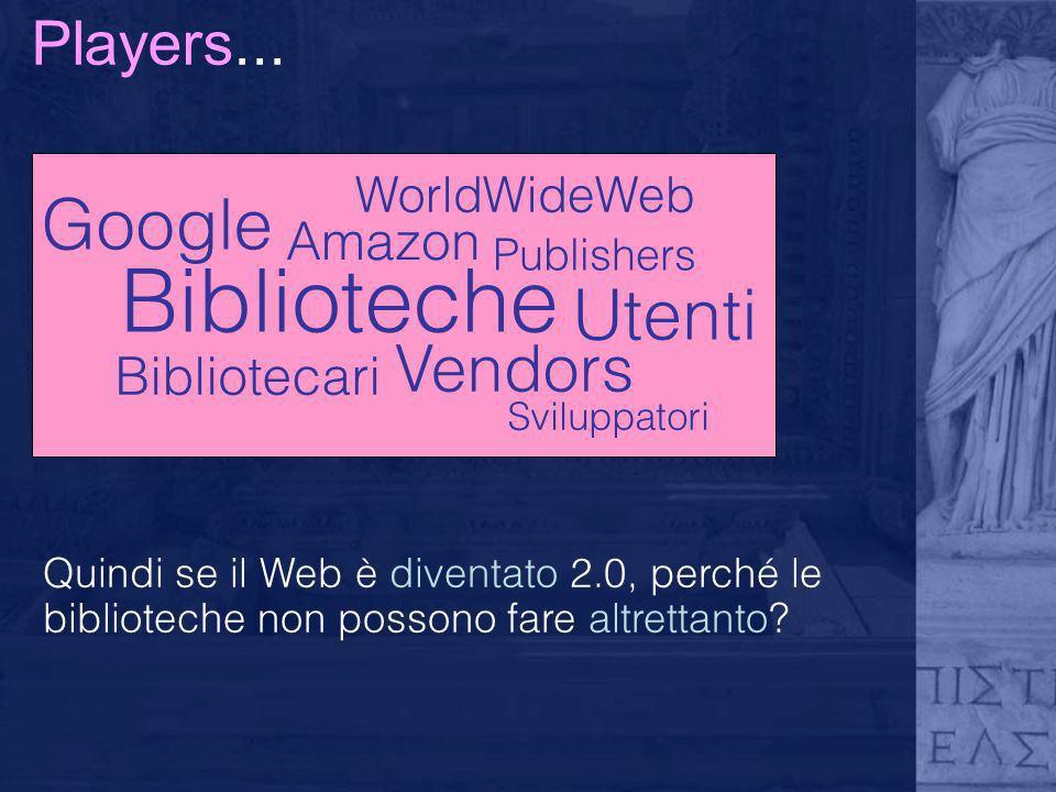 Biblioteche Google Utenti Vendors Players... Amazon Bibliotecari