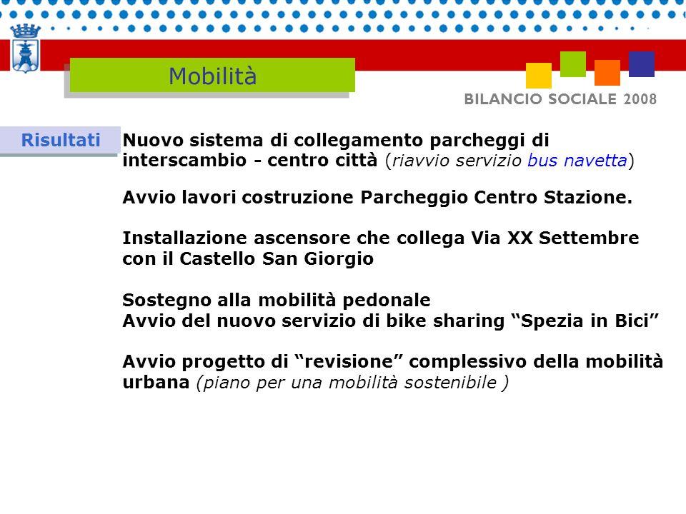 Mobilità BILANCIO SOCIALE 2008. Risultati. Nuovo sistema di collegamento parcheggi di interscambio - centro città (riavvio servizio bus navetta)