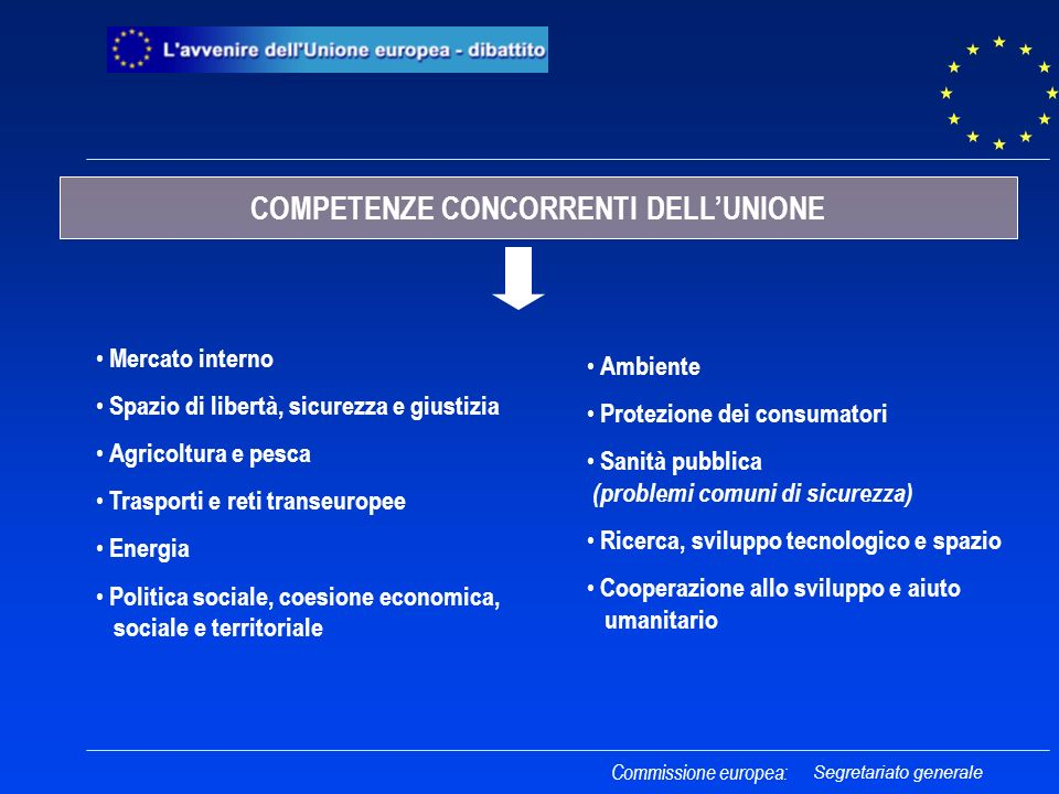 COMPETENZE CONCORRENTI DELL'UNIONE