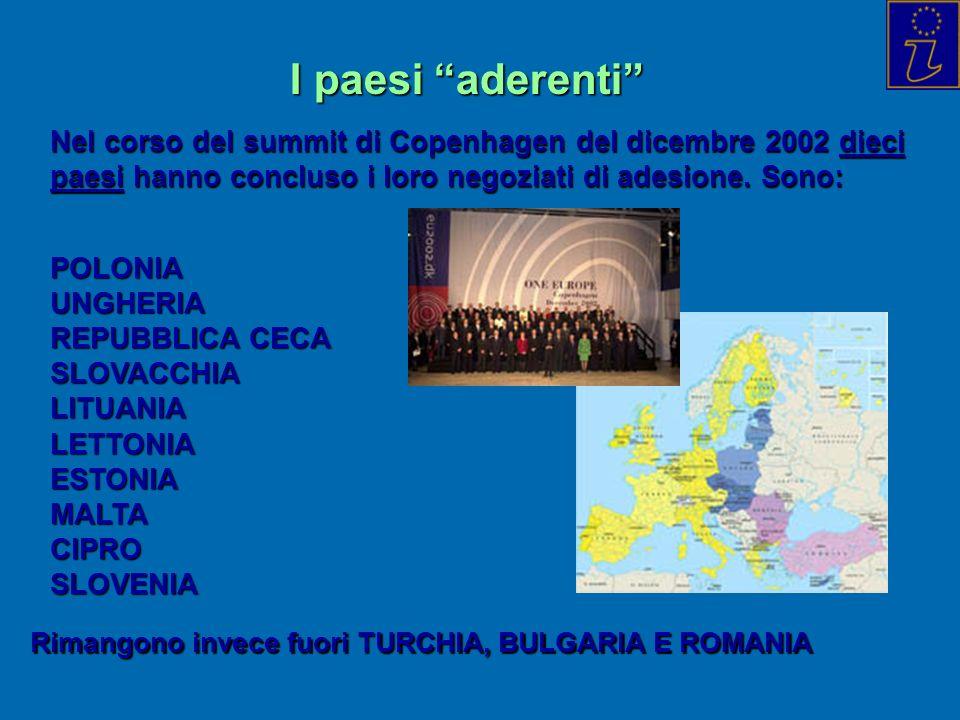 I paesi aderenti Nel corso del summit di Copenhagen del dicembre 2002 dieci paesi hanno concluso i loro negoziati di adesione. Sono: