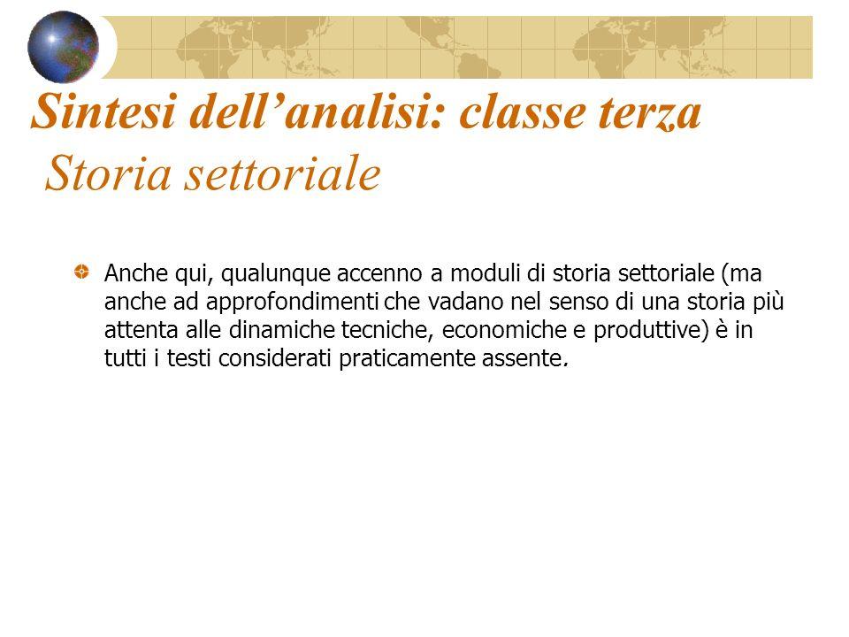 Sintesi dell'analisi: classe terza Storia settoriale