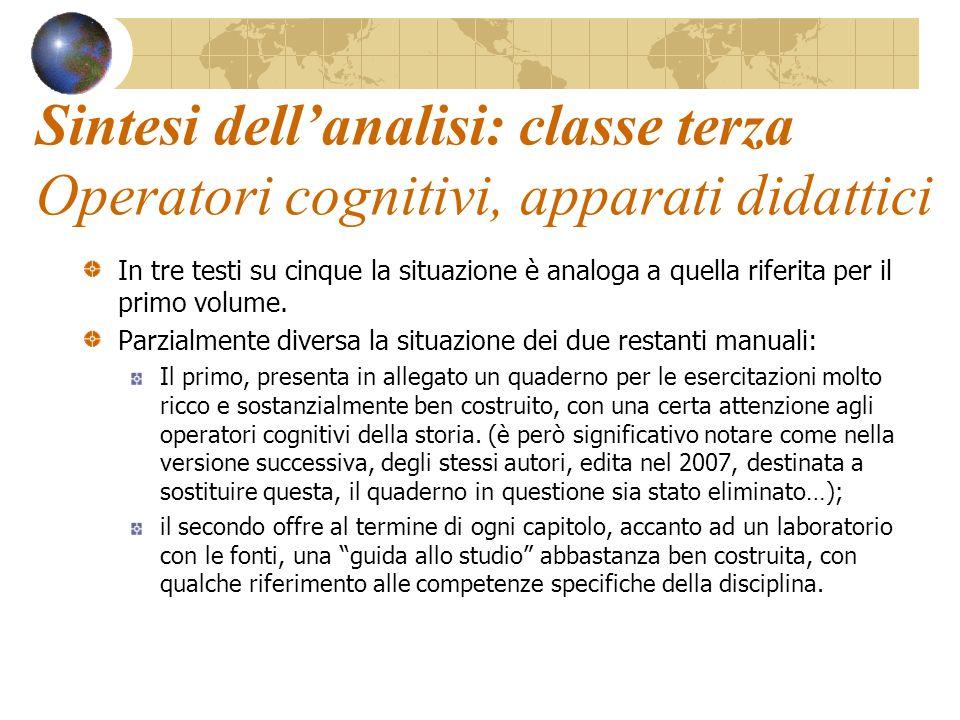 Sintesi dell'analisi: classe terza Operatori cognitivi, apparati didattici