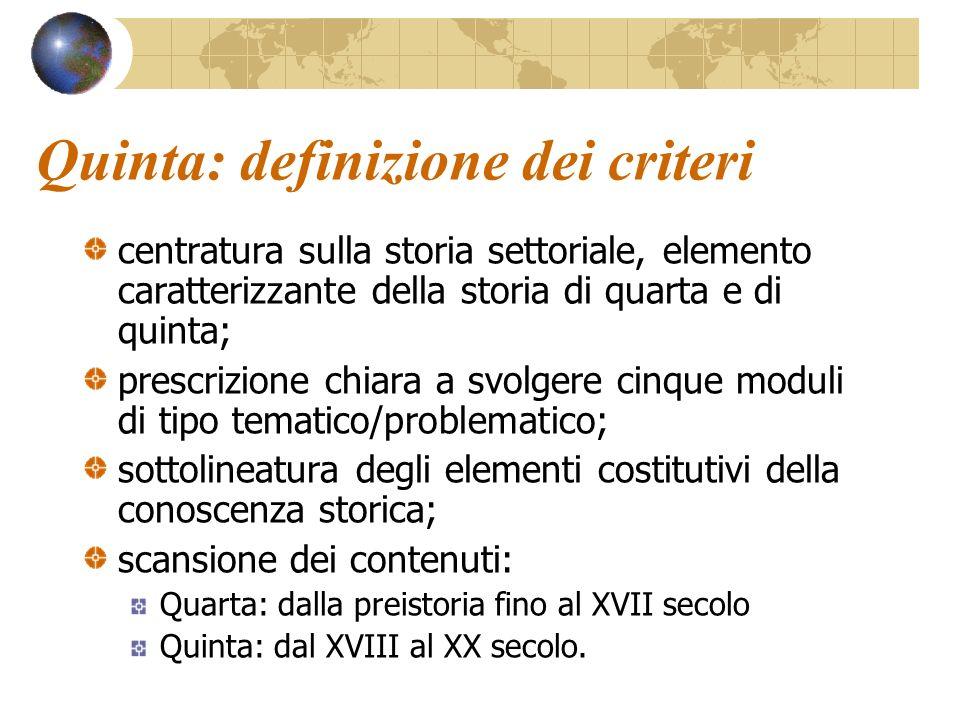 Quinta: definizione dei criteri