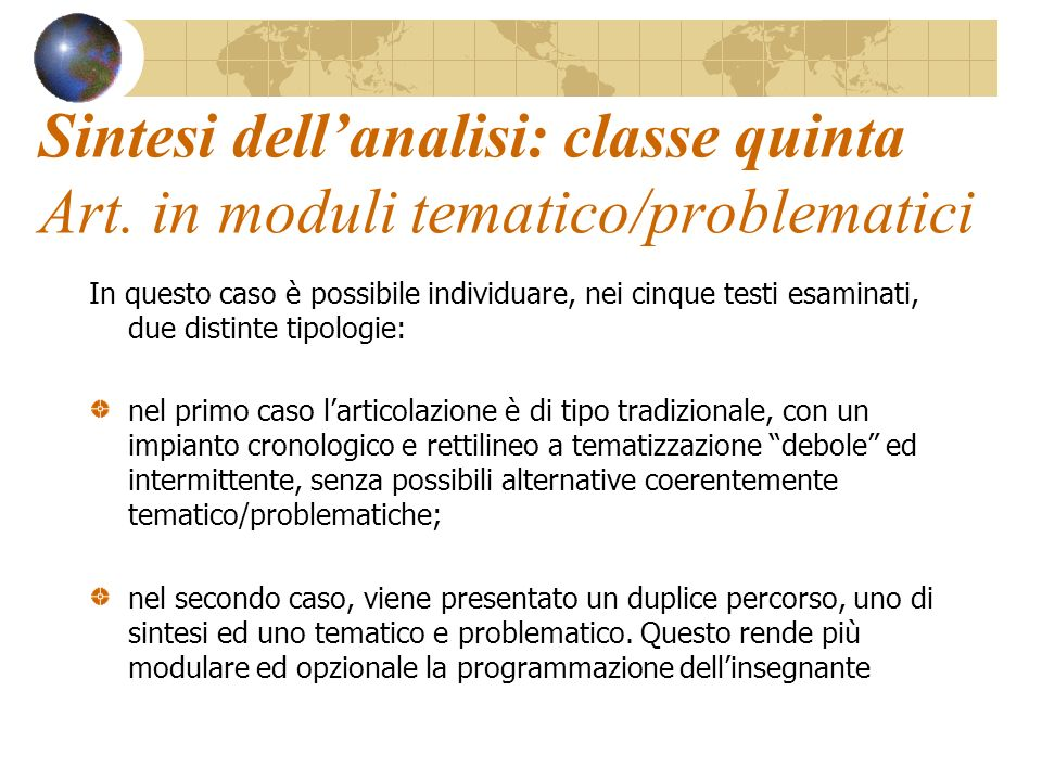 Sintesi dell'analisi: classe quinta Art