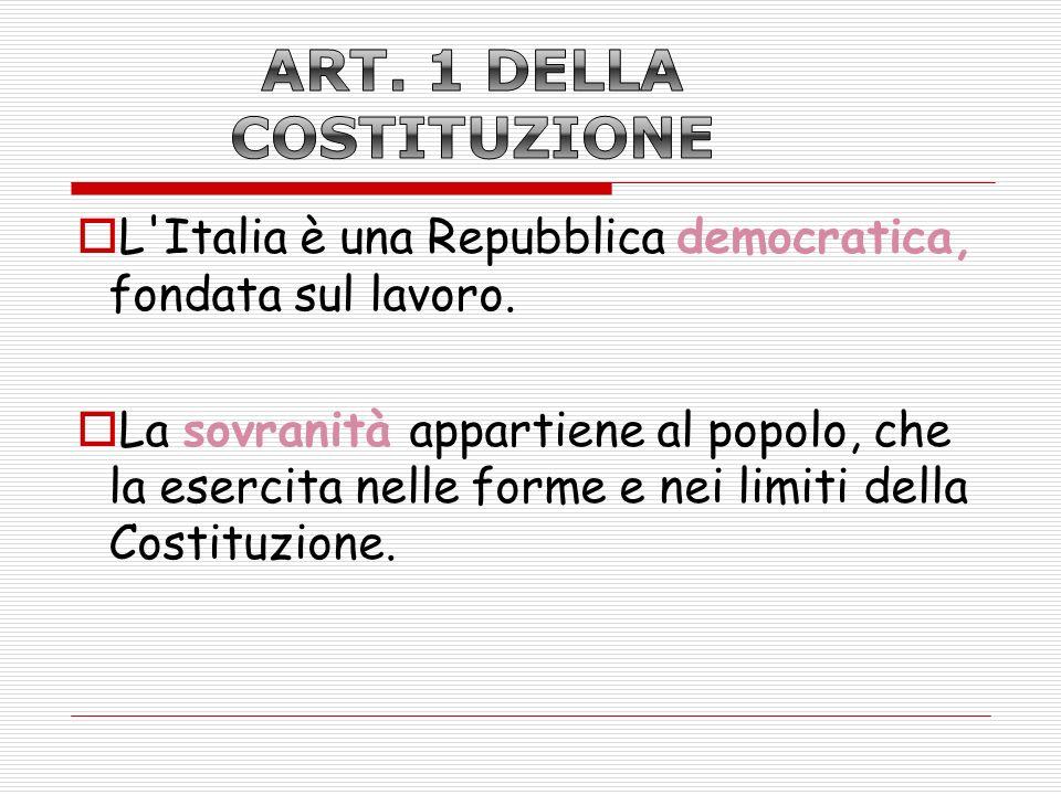 ART. 1 DELLA COSTITUZIONE