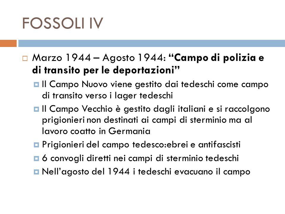FOSSOLI IV Marzo 1944 – Agosto 1944: Campo di polizia e di transito per le deportazioni