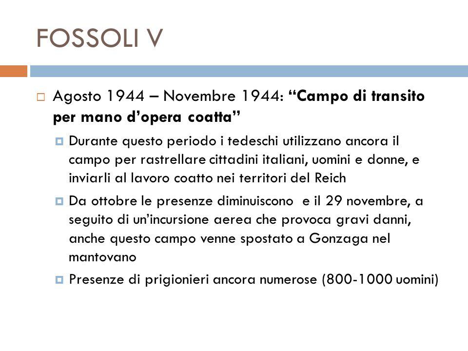 FOSSOLI V Agosto 1944 – Novembre 1944: Campo di transito per mano d'opera coatta