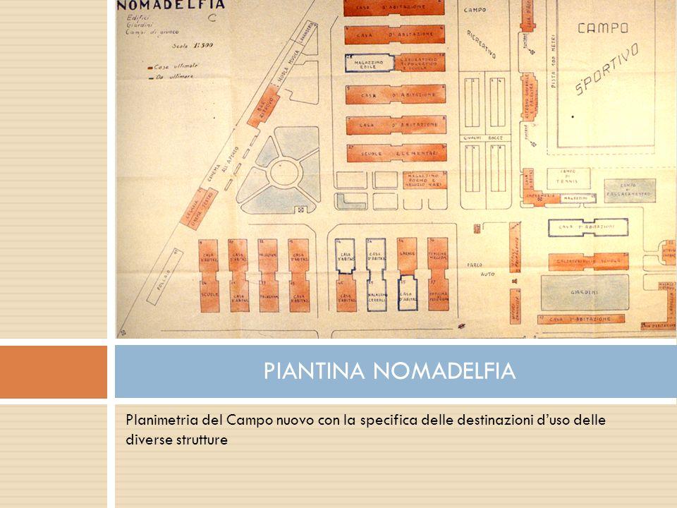 PIANTINA NOMADELFIA Planimetria del Campo nuovo con la specifica delle destinazioni d'uso delle diverse strutture.