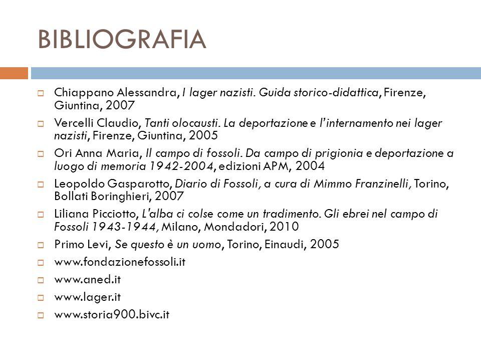 BIBLIOGRAFIA Chiappano Alessandra, I lager nazisti. Guida storico-didattica, Firenze, Giuntina, 2007.