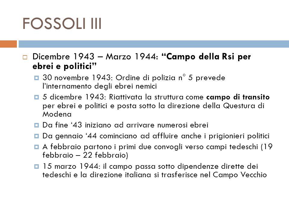 FOSSOLI III Dicembre 1943 – Marzo 1944: Campo della Rsi per ebrei e politici
