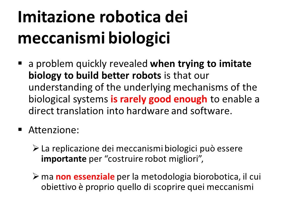 Imitazione robotica dei meccanismi biologici
