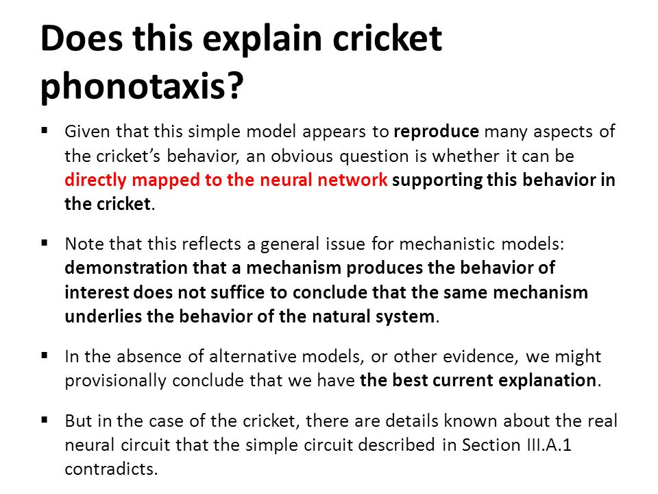 Does this explain cricket phonotaxis