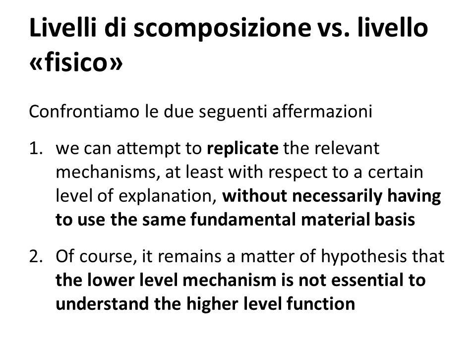 Livelli di scomposizione vs. livello «fisico»