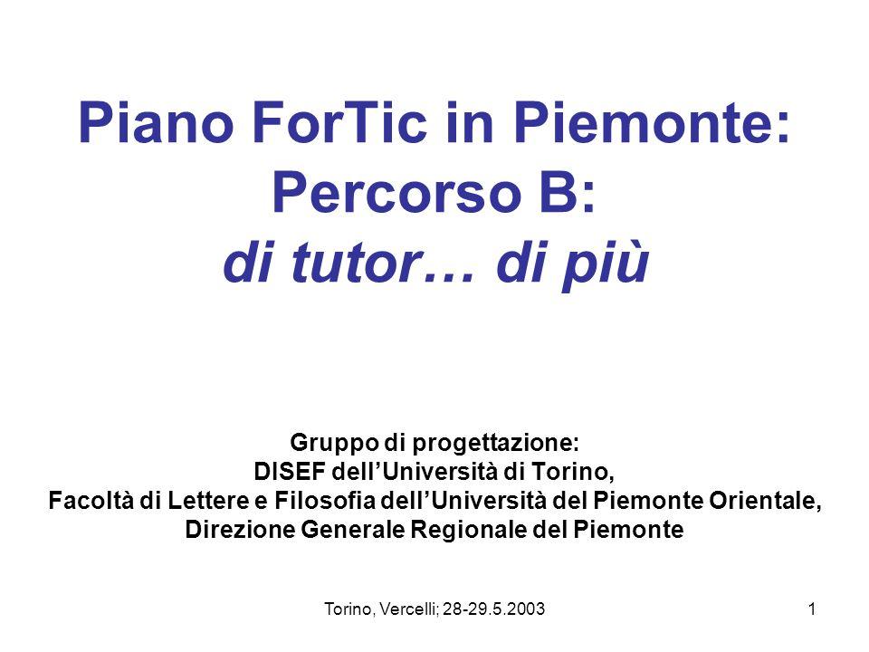 Piano ForTic in Piemonte: Percorso B: di tutor… di più