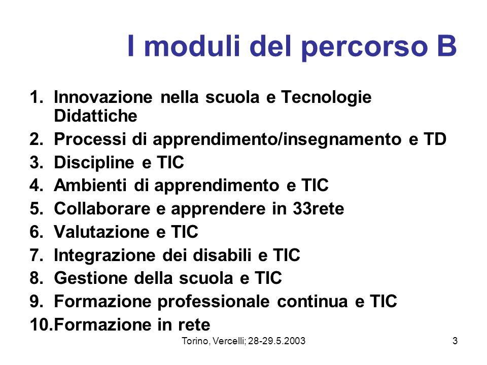 I moduli del percorso B Innovazione nella scuola e Tecnologie Didattiche. Processi di apprendimento/insegnamento e TD.