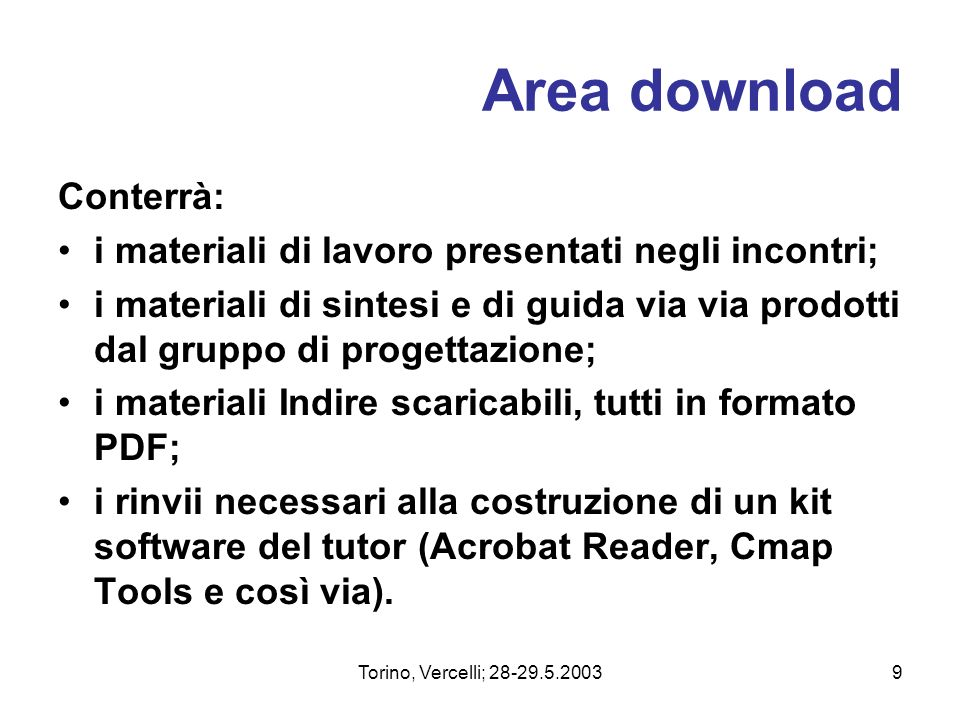 Area download Conterrà: